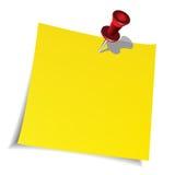 Empurre o pino e a nota de papel Fotografia de Stock