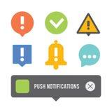 Empurre os ícones dos elementos das notificações ajustados Fotos de Stock Royalty Free