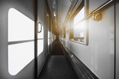 Empy interior of modern train Royalty Free Stock Image