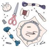 EMROIDERY het WERK VectordieIllustratie voor het naaien en borduurwerk wordt geplaatst stock illustratie