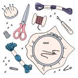 EMROIDERY WORK Vector Illustration Set for sewing and embroidery stock illustration