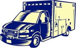 EMS Ambulance Emergency Vehicle Woodcut Stock Photo