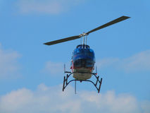 EMS Chopper. This is an Emergency Medical Services chopper landing on a pad of a local hospital Stock Photo
