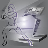 EMS fitness device and woman Royalty Free Stock Photos