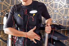 EMS pobudzenia kostiumu electro kobieta Obrazy Stock
