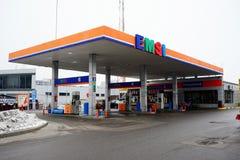 Emsi燃料驻地在维尔纽斯市Pasilaiciai区 图库摄影