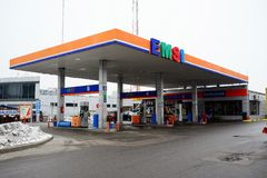Emsi-Brennstoffstation im Vilnius-Stadt Pasilaiciai-Bezirk Stockfotografie