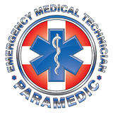 EMT Paramedic Medical Design Cross. Illustration of an EMT or paramedic design with star of life medical symbol and first aid cross Stock Images