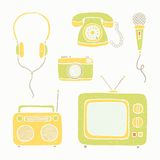 Emtertainment appliances and accessories. Vector EPS10 hand drawn illustration stock illustration