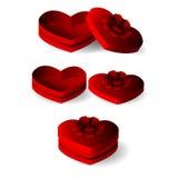 Emtly心脏有丝带的形状箱子 免版税库存照片