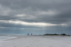 Emtpty Pensacola Beach in Florida. Cloudy and Windy Day. Emtpty Pensacola Beach in Florida. Cloudy and Windy Day Royalty Free Stock Photos