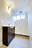 Emtpy bathroom interior with cabinet and open shower Royalty Free Stock Photography
