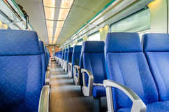 Emtpy interior of the train for long and short distance Stock Images