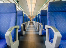 Emtpy interior of the train for long and short distance Royalty Free Stock Photography