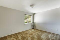 Emtpy rum med det mjuka bruna mattgolvet Royaltyfri Foto