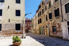 Emtpy street and antique buildings  in Venezia Royalty Free Stock Image