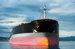 Emtpy tanker ship. Anchored empty tanker ship under an overcast sky Stock Images