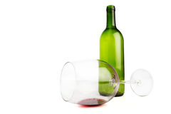 Emtpy wine bottle and glass Stock Photography