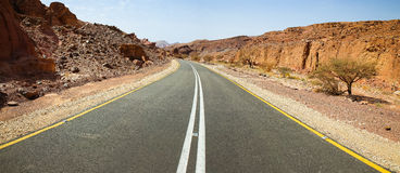 Emty asphalt road desert panorama. Stock Photo