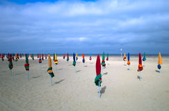 Emty Beach. Closed sunshade on an empty beach in France Royalty Free Stock Photo