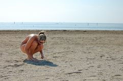 Emty beach in Grado Italy. Emty sand beach in Grado Italy Royalty Free Stock Images