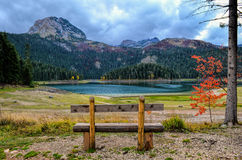 Emty bench, red tree and lake. Empty wooden bench with view on mountain, glacial lake in autumn, small, red tree  and dramatic, cloudy sky Stock Images