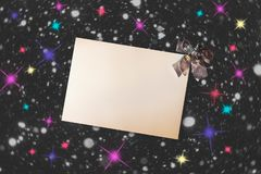 Emty card with christmas decoration on dark background. Top view, copy space royalty free stock photo