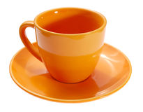 Emty cup witn saucer. Isolated on a white royalty free stock images