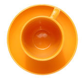 Emty cup witn saucer. Isolated stock images
