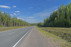 Emty highway. South Karelia, Russia. Stock Photos