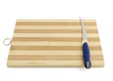 Emty kucharstwa deska z nożem odizolowywającym na bielu Zdjęcia Royalty Free
