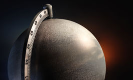 Emty metal desktop globe close up stock image