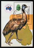 Emu Dromaius novaehollandiae, Philatelic Exhibitions serie, Cuba circa 1984. MOSCOW, RUSSIA - AUGUST 29, 2017: A stamp printed in Cuba shows Emu Dromaius Stock Photography