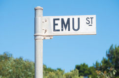 Emu Street road sign in South Australia. Road sign identifying Emu Street on Kangaroo Island in South Australia Stock Image