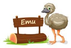 Emu y placa conocida Imagenes de archivo