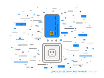 EMV chip card contactless reader colorful vector Royalty Free Stock Photo