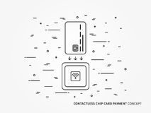 EMV chip card square contactless reader vector linear Stock Photo