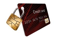 EMV chip that looks like a padlock is locked to a credit card. An EMV chip that looks like a padlock is locked to a credit card to illustrate how the chip royalty free illustration