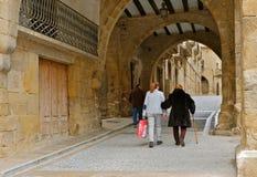 En äldre kvinna med en rotting och hennes familj går ner gatan royaltyfri bild
