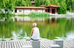 En äldre man tycker om landskapet vid honom arkivfoton