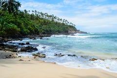 En älskvärd strand på den hemliga stranden i Mirissa Royaltyfria Bilder