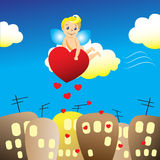 En ängel över staden stock illustrationer