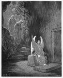 En ängel meddelar att Jesus har stigit stock illustrationer