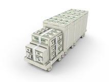 Pengar åker lastbil Arkivbild