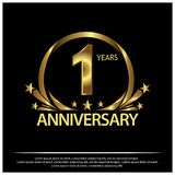 En år guld- årsdag årsdagmalldesign för rengöringsduken, lek, idérik affisch, häfte, broschyr, reklamblad, tidskrift, invit stock illustrationer