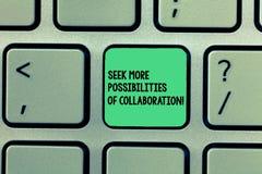 En écrivant l'apparence de note cherchez plus de possibilités de collaboration Recherche de présentation de photo d'affaires l'as image libre de droits