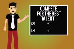 En écrivant l'apparence de note concurrencez pour le meilleur talent Concurrence de présentation de photo d'affaires de détermine illustration de vecteur