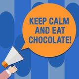 En écrivant l'apparence de note gardez le calme et mangez du chocolat La photo d'affaires présentant tout est meilleure quand vou illustration de vecteur