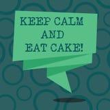 En écrivant l'apparence de note gardez le calme et mangez le gâteau La présentation de photo d'affaires détendent et ont plaisir  illustration de vecteur