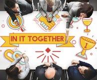 En él junto Team Corporate Connection Support Concept Fotos de archivo